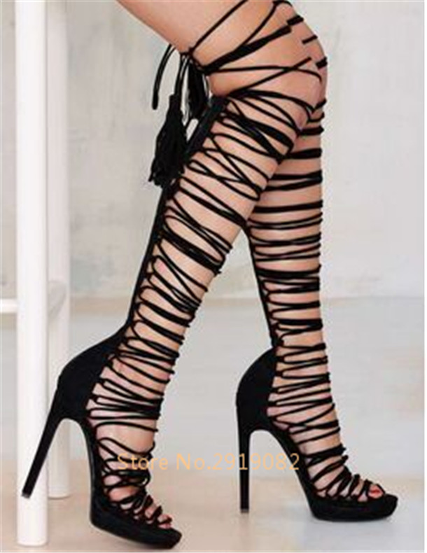 Multiple Pattern Available Sexy Gladiator Style Women Sandals Back Zip Opening Tassels Pointed Toe Knee-high Bars Nightclub Shoe