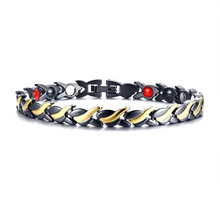 Gents Ladys Stainless Steel Magnetic Power Bracelet 4-in-1 Energy Magnets Negative Ion FIR Germanium Black Gold Unisex Jewelry(China)