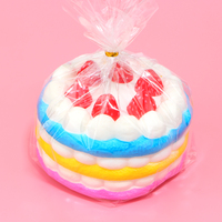 1Pcs 12CM Upscale Jumbo Squishy Rainbow Strawberry Birthday Cream Cake Super Slow Rising Scented