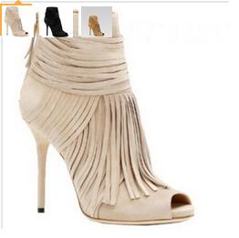 6b409e13fc19 Cheap Price Hottest Black Beige Suede Fringe Ankle Bootie High Heel Peep  Toe Gladiator Sandals Boots For Women Tassel Shoes-in Ankle Boots from  Shoes on ...