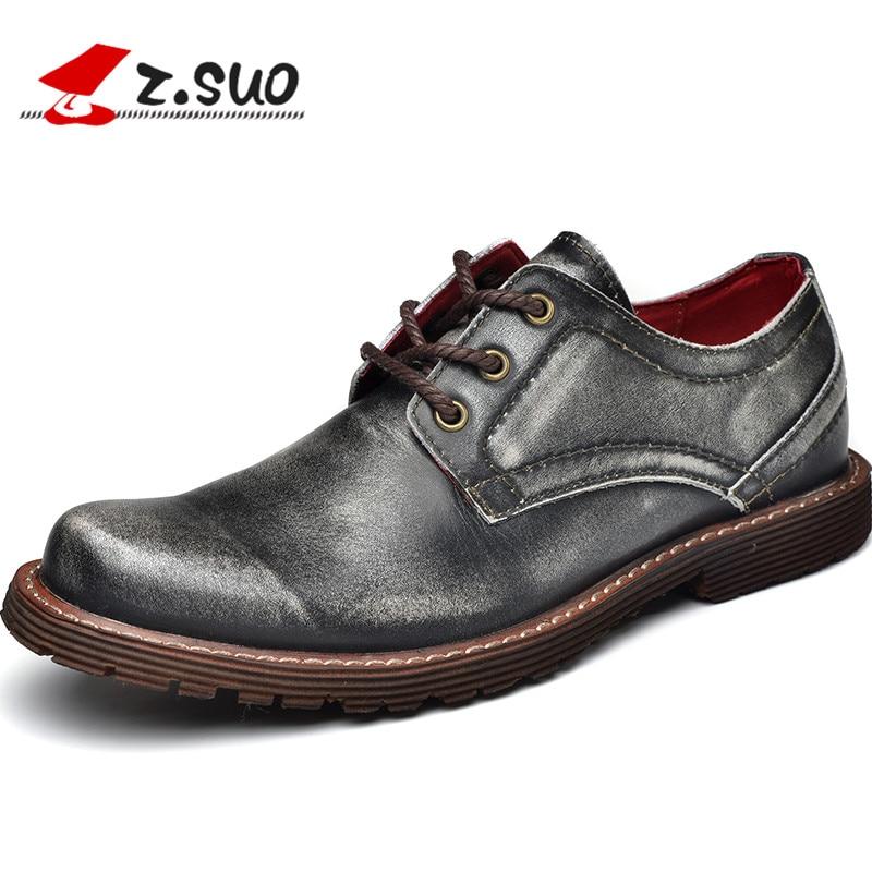 Z. Suo/мужские сапоги, серебро кружева бизнес настоящие кожаные ботинки, Повседневная мода первый слой кожаные туфли. Zapatos De Cuero Zs2311