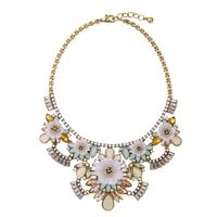 New Style Statement Necklace For Women Party Dress Fashion Alloy Jewelry Flower Glass Made Blooming Necklaces For Masquerade