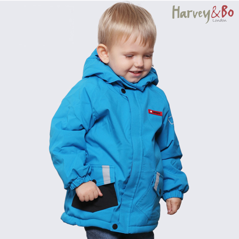 Children autumn winter outerwear baby kids hooded jackets waterproof boy brand outdoor coat cotton-padded plus velvet  2-5 years