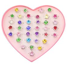 36pcs Colorful Rhinestone Gem Rings in Box, Adjustable Little Girl Jewel Box Children Kids Gift, Pre
