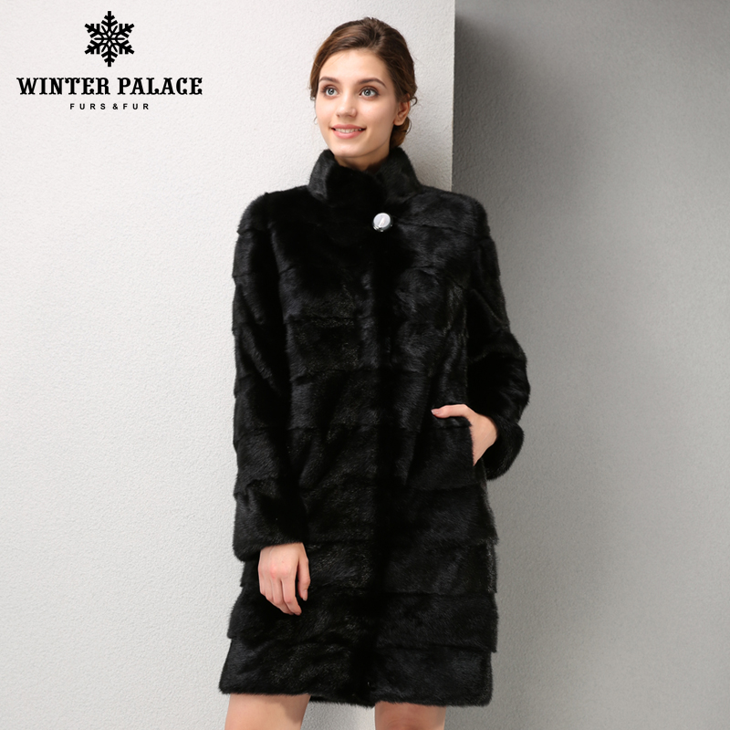 new models fashion mink fur coat, mink fur coat black, coat of natural mink fur, mink fur coat is very convenient Free shipping