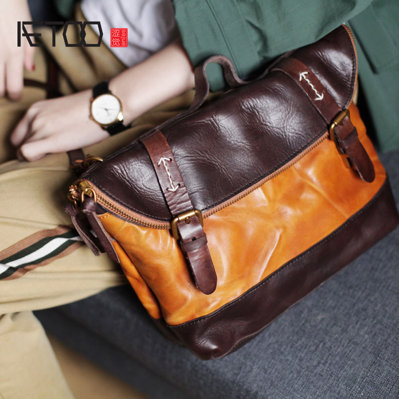 AETOO Vintage handmade leather messenger bag college wind leisure folding dual-use big bag Korean men and women bag Messenger цены онлайн