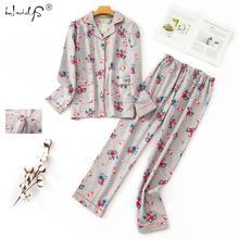 Koreański piżamy skręcić w dół kołnierz piżamy kobiety bawełna piżama z długim rękawem zestaw kobiet jesień zima na co dzień bielizna nocna z kieszeni