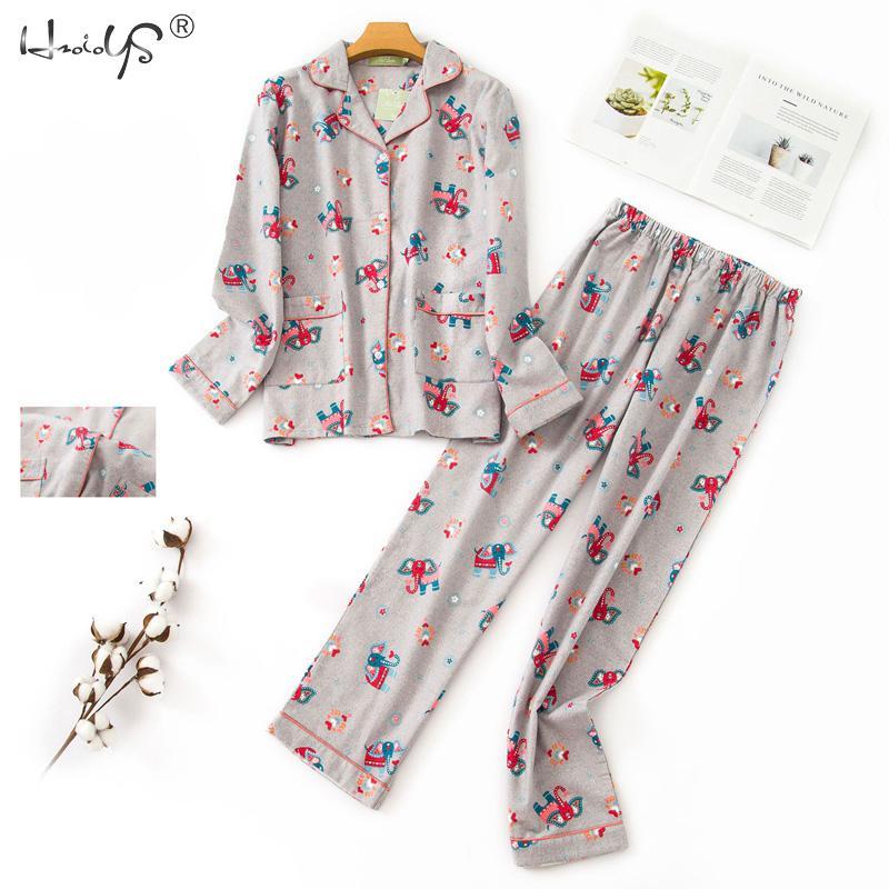 Korean Pyjama Turn-down Collar   Pajamas   Women Cotton Long Sleeve   Pajamas     Set   Women's Autumn Winter Casual Sleepwear With Pocket