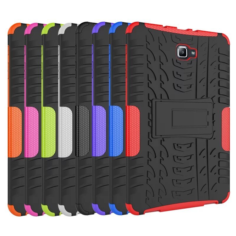 T580 Heavy Duty Silicone Hard Case Cover Protector Stand funda Tablet For Samsung Galaxy Tab A 10.1 2016 SM-t585 T580 SM-T580 tire style tough rugged dual layer hybrid hard kickstand duty armor case for samsung galaxy tab a 10 1 2016 t580 tablet cover