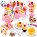 75 pcs DIY Cookware Set Fruit Birthday Cake Children Play House Toys Kitchen Kid Educational Assembling Toys