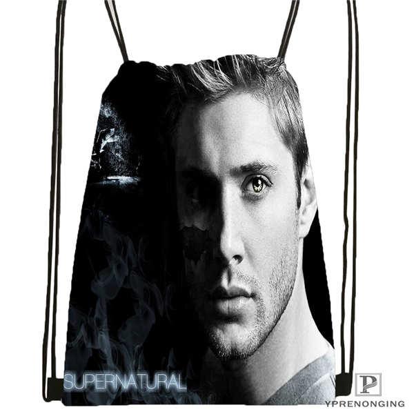 Custom Supernatural_Season_  Drawstring Backpack Bag Cute Daypack Kids Satchel (Black Back) 31x40cm#180612-02-6