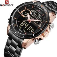 NAVIFORCE 2018 Neue Männer Sport Uhren military Wasserdichte Quarz Handgelenk Uhren simulation LED Digital Uhr Relogio Masculino-in Quarz-Uhren aus Uhren bei