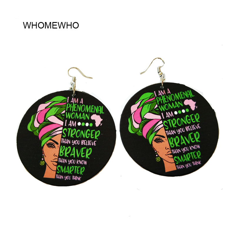 Black Wood Painting Round Phenomenal Stronger Brave Letters Africa Drop Earrings Wooden African Indian Hiphop Ear Tribal Jewelry in Drop Earrings from Jewelry Accessories