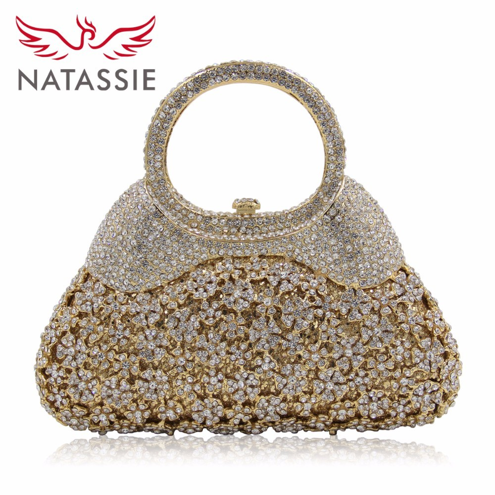 Natassie Luxury Flower Crystal Evening Bags Special Design Handbag Girl's Party Purse Wedding Clutch Shoulder With Chain Gold кастрюля winner 2 4 л wr 1206