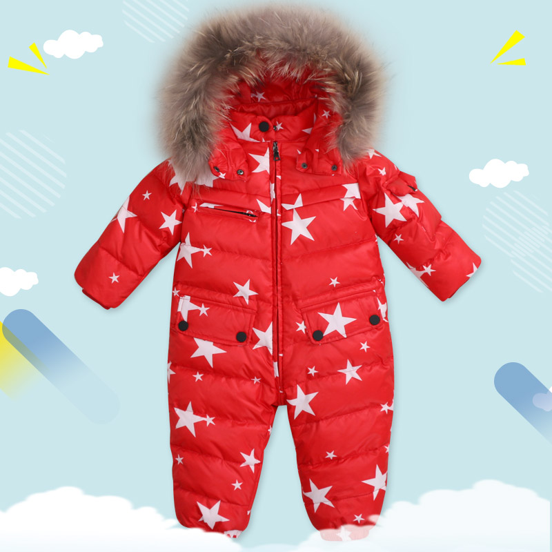 White Duck Down Boys Snowsuit Windproof for Baby Winter Romper for Girls Warm Winter Romper Baby Girls Hooded Fur Winter Rompers