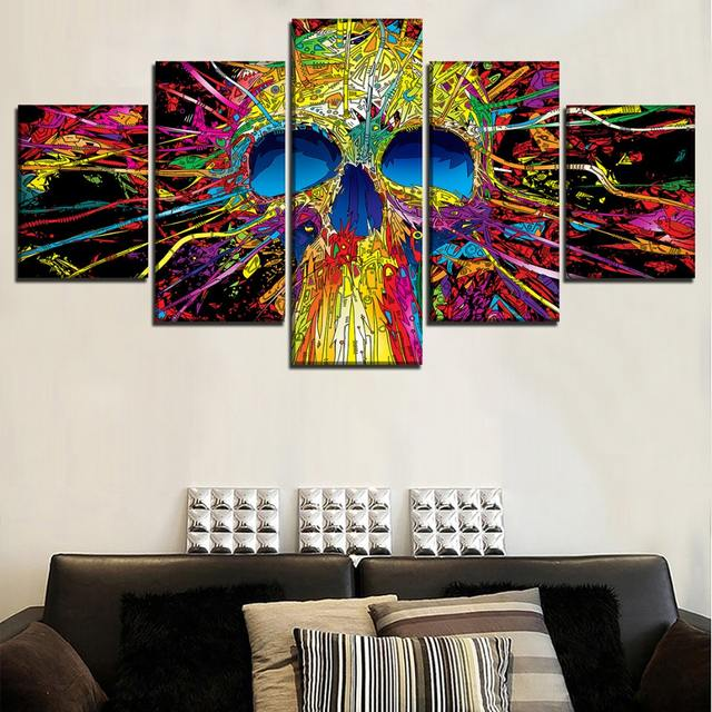 5 PANEL ABSTRACT SKUL WALL POSTER