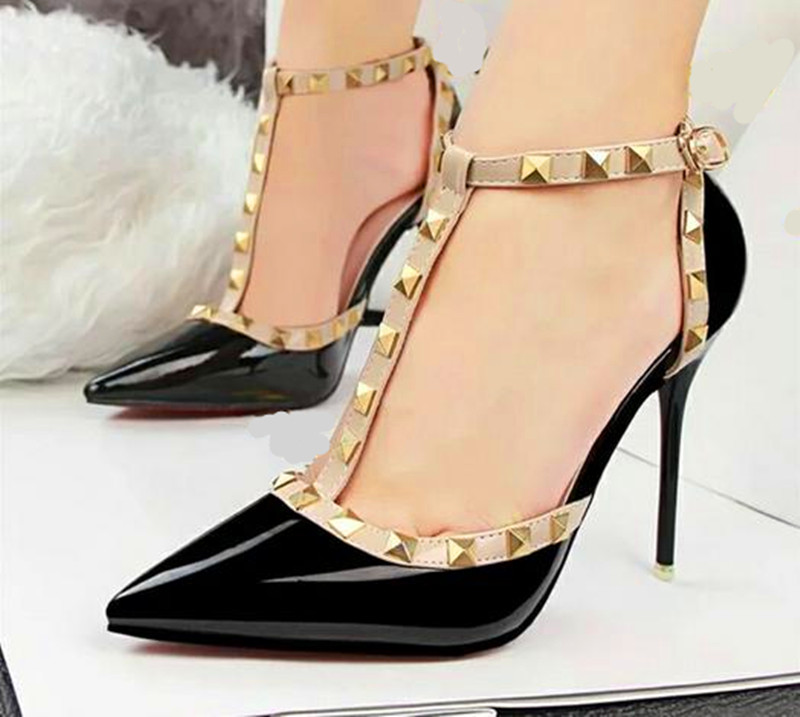 2016 brand sexy Women Pumps Red High Heels Studded Spike Pointed Toe Heel Party Dress Shoes Woman