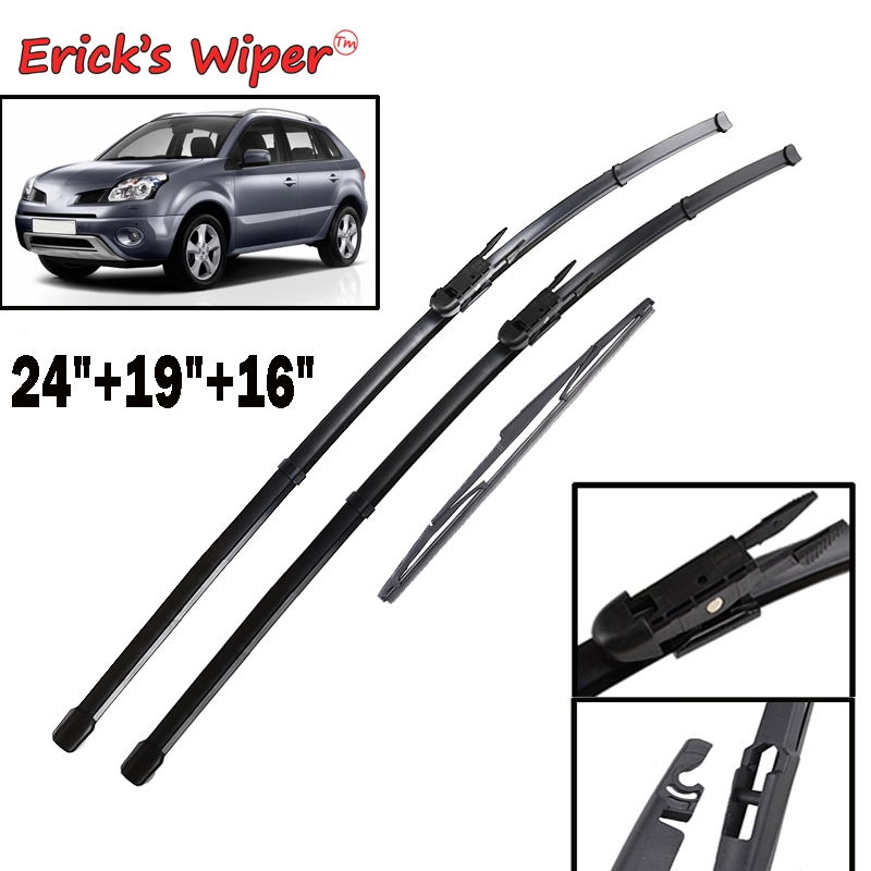 Erick's Wiper Front & Rear Wiper Blades Set For <font><b>Renault</b></font> <font><b>Koleos</b></font> MK1 <font><b>2008</b></font> - 2015 Windshield Windscreen Window 24