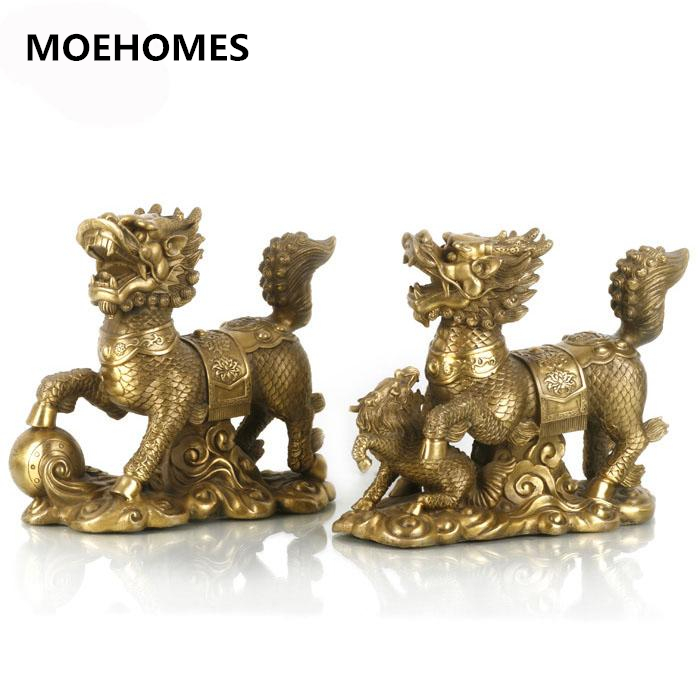 MOEHOMES a pair of Chinese Bronze Brass Fengshui Kylin Pixiu Animal fengshui Statue home decorations metal handicraftMOEHOMES a pair of Chinese Bronze Brass Fengshui Kylin Pixiu Animal fengshui Statue home decorations metal handicraft