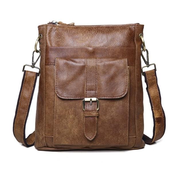 купить New Men Business Messenger Bag Waterproof real leather bags Casual Cross Body Bags Men's Simple Shoulder Bags for Ipad Pack по цене 4716.31 рублей