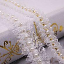 Ribete de encaje de malla con perlas blancas, 1 yarda, 2 estilos, cinta de encaje, Collar de tela, materiales de costura para tocado de ropa, 2/3cm de ancho