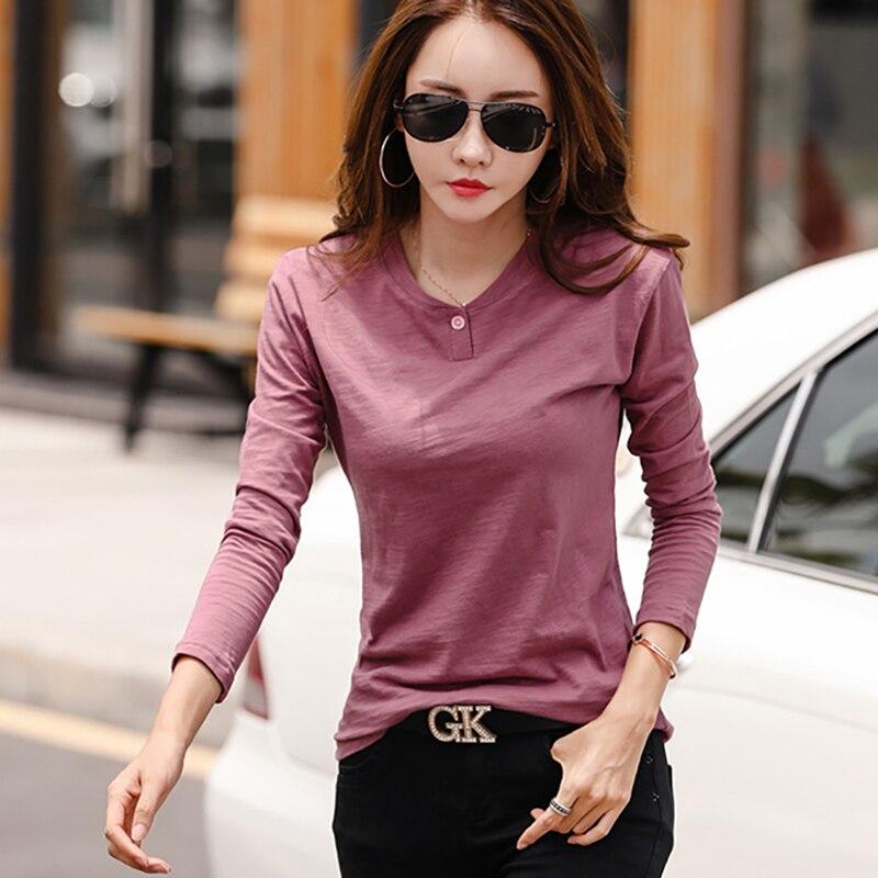 Shintimes Vetement Femme 2018 New Long Sleeve   Shirt   Women   T  -  Shirt   Bamboo Cotton Korean Woman Tshirt Top Vogue Camiseta Feminina
