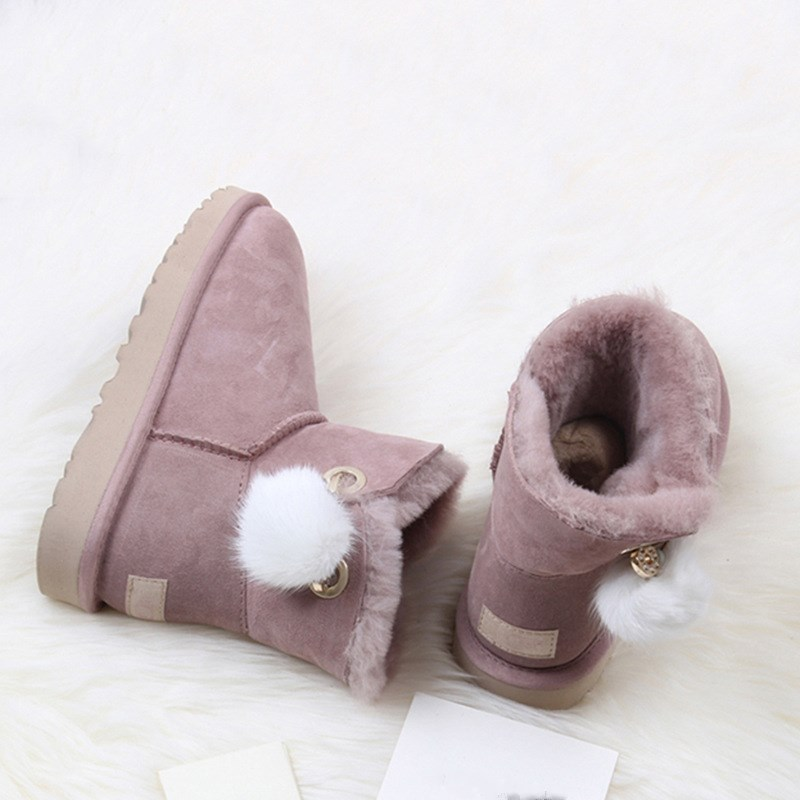 CUWHF New Style 2018 Natural Fur Snow Boots Genuine Leather Winter Boots Women 100% Natural Wool Warm Ankle Boots Women Shoes