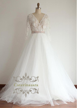 Long Sleeves Tull Wedding Dress Lace Appliques with Crystals Mixture Pearls Waist Belt Bride Gown A Line Skirt Sexy V neck