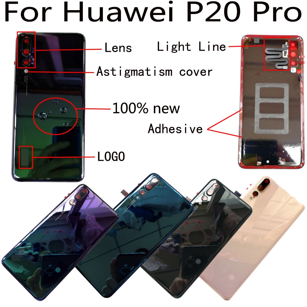 100% Orig New For Huawei P20 Pro CLT-AL00 CLT-L09 CLT-L29 CLT-TL00 Glass Rear Back Door Housing Battery Door Cover + Adhesive