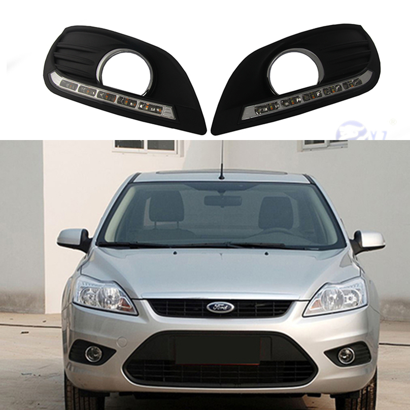 2 Pcs Car Styling For Ford Focus Sedan Led Drl Daytime Running Lights Daylight Waterproof Fog Head White Lamp Free Shipping