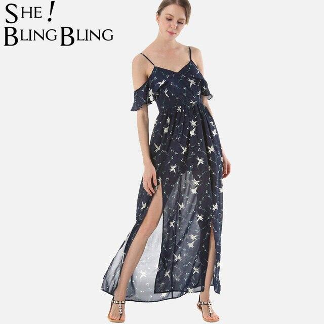 SheBlingBling Stars Print Cami Dress Summer Fashion Open Shoulder Flutter  Sleeve Ruffles Embellished Split Front Maxi 6d86bcb52970