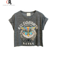 Latest New Women Loose Gray Owl Pattern Crop Top With ALICE S ADVENTURES IN WONDERLAND Letters
