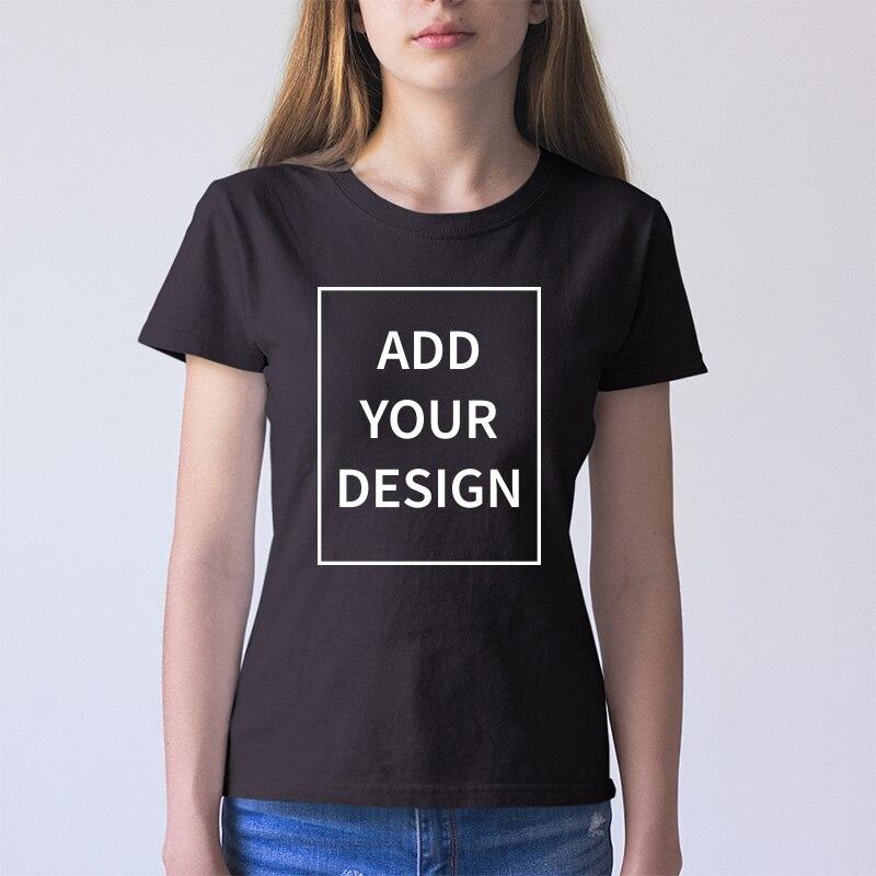 Taille de l'ue T-shirt personnalisé femme ajouter votre propre Design imprimer l'image de texte haute qualité 100% coton T-shirt
