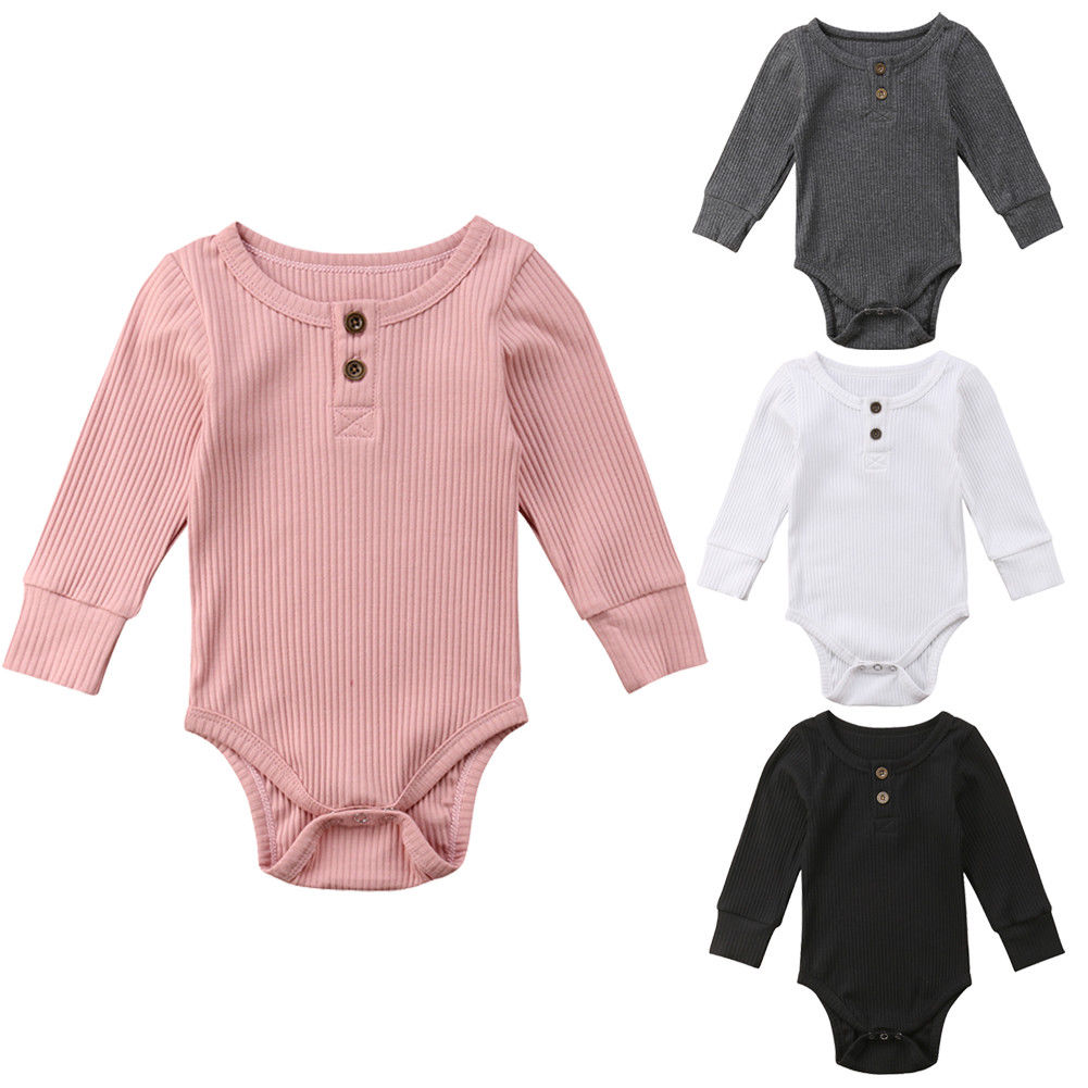 6631215b9a0a Newborn Winther Clothes Baby Boys Girls Bodysuits Infant Kids Stripe  Buttons Jumpsuit Bodysuit Toddler Solid Clothes