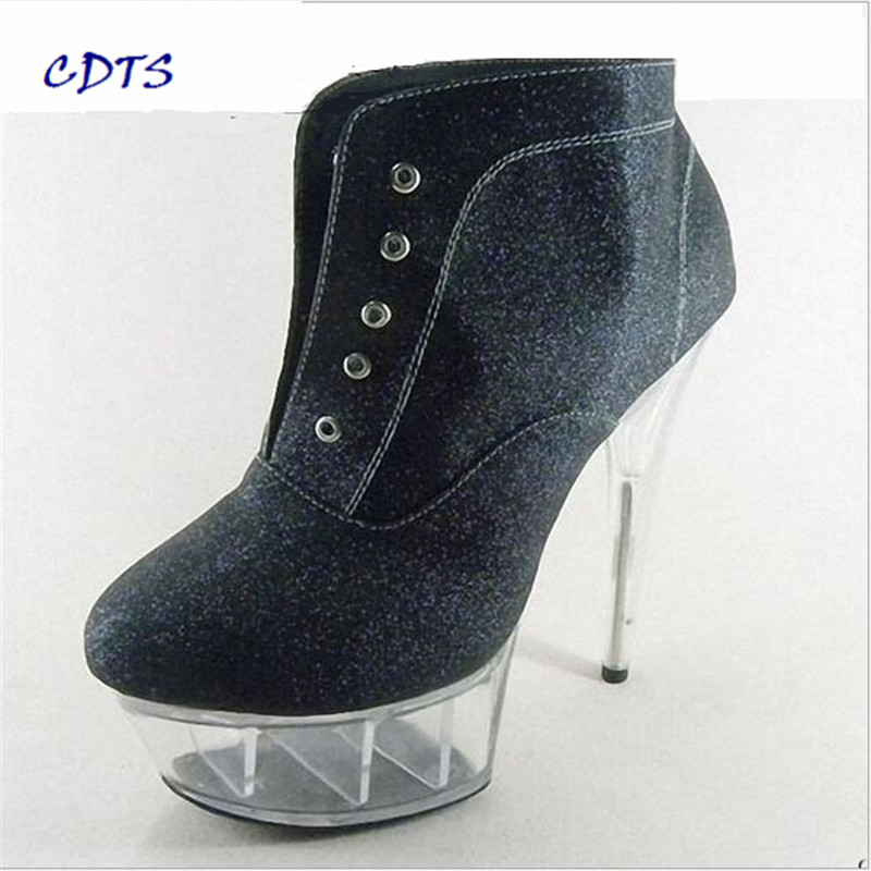 ФОТО CDTS Plus:35-45 46 spring/autumn zapatos mujer Round Toe Ankle Strap 15cm thin heels Crystal platform Glitter shoes women  pumps