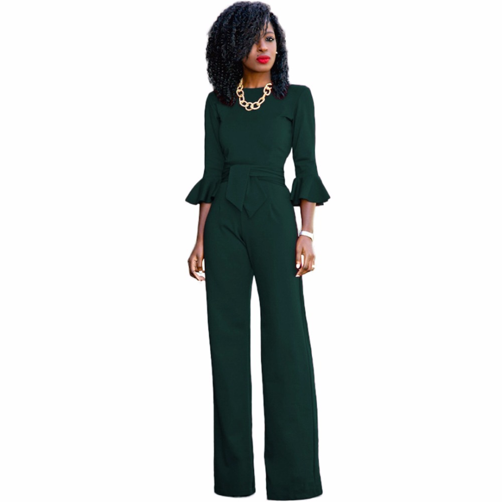 3aa95c0bac0 Red black Rompers Womens Jumpsuit Autumn Flare Sleeve Sashes Elegant Ladies  Wide Leg Jumpsuits Party Overalls Long Playsuits