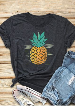 pineapple summer shirts women 2018 aesthetic tshirt graphic punk vintage cotton o-neck print streetwear