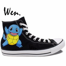 Wen Hand Painted Shoes Anime Design Custom Pokemon Squirtle Pocket Monster Black High Top Men Women's Canvas Sneakers