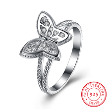 Fashion Butterfly Insect Design 925 Sterling Silver Finger Ring for Women Small CZ Zircon Crystal Party/Engagement Jewelry SR040