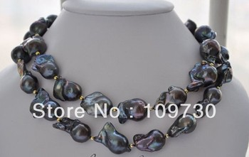 Jewelry 00630 big 20mm black BAROQUE KESHI REBORN PEARL NECKLACE