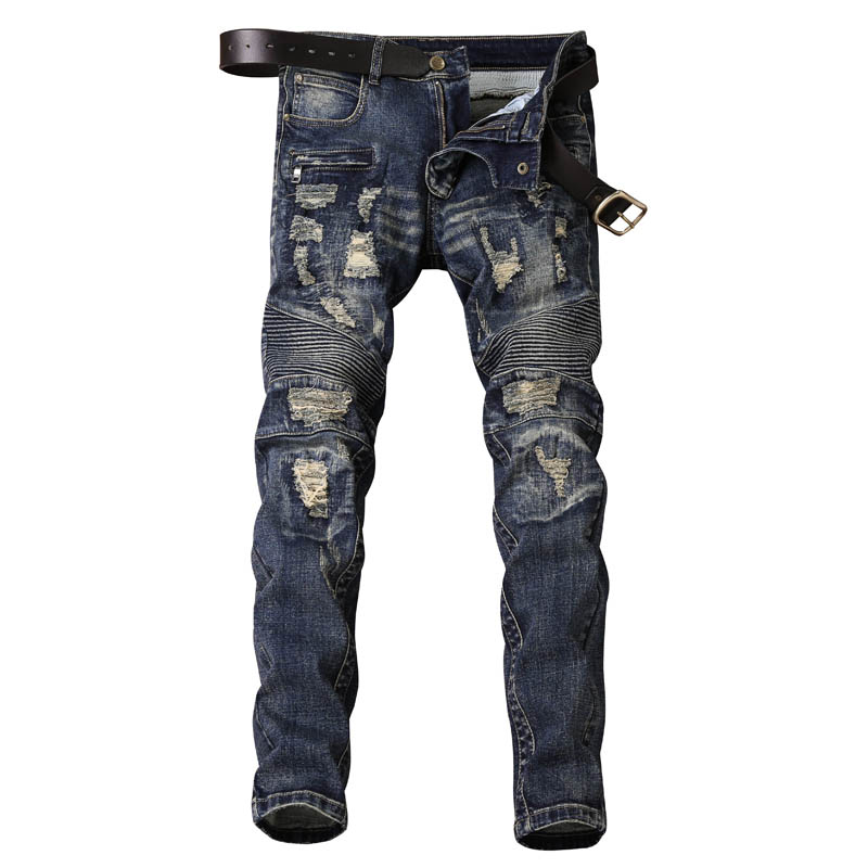 Mens Biker Moto Ripped Jeans Distressed Destroyed Tapered Leg Motorcycle Cowboy Pants Skinny Slim Fit Denim Trousers represent clothing designer pants slp destroyed mens slim denim straight skinny biker jeans men slim fit ripped jeans 1376 7 8