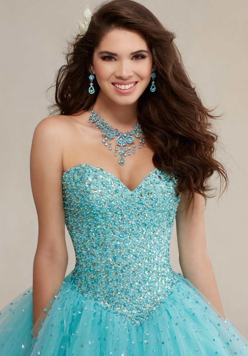 Sparkly Ball Gown Crystals Corset Puffy Tulle Turquoise Quicneanera Dress  2017 For Girls 15 Years Masquerade Debutante Gown-in Quinceanera Dresses  from ... fa5d3c78821e