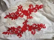 2Pieces AIWUJIA Handcraft Red Lace Applique New Venise Trims Collar Garment Accessories Fabric For Dress