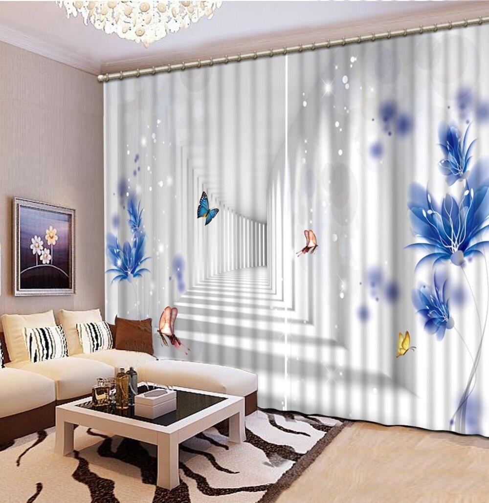 Цветы шторы печать фото затемненные шторы Роскошные 3D шторы для жизни синие шторы