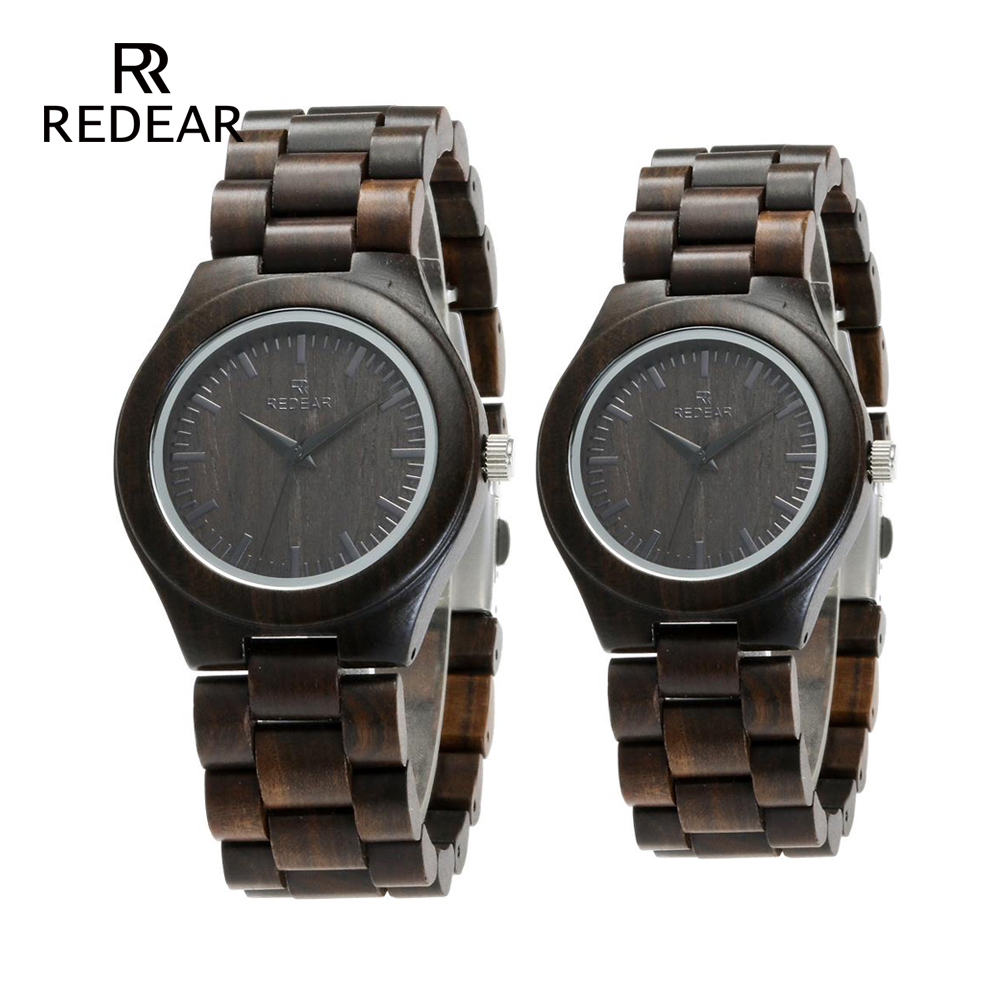 REDEAR Handmade Black Sandalwood Watches Lovers Watches Cool Nature Wood Quartz Automatic Watch in Gift Box