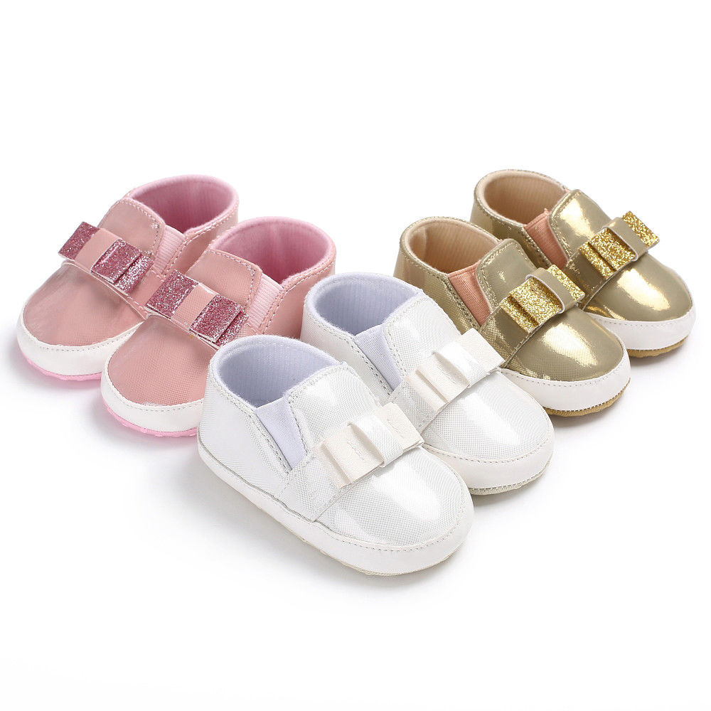 Sequins Bow Baby Tassel Soft Sole Anti-skid Bling Shoes Boy Girl Toddler Moccasin 0-18Months