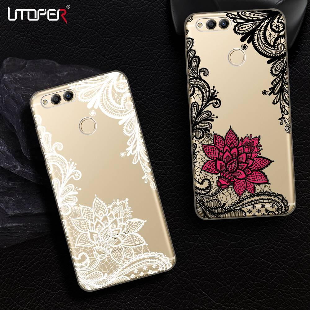 Galleria fotografica UTOPER Flower Phone Cases For Huawei <font><b>Honor</b></font> <font><b>7x</b></font> Case Silicone Gel Cover For <font><b>Honor</b></font> 5c 6a 6x Case For <font><b>Honor</b></font> 8 9 GR5 2017 Mate 9 Lite