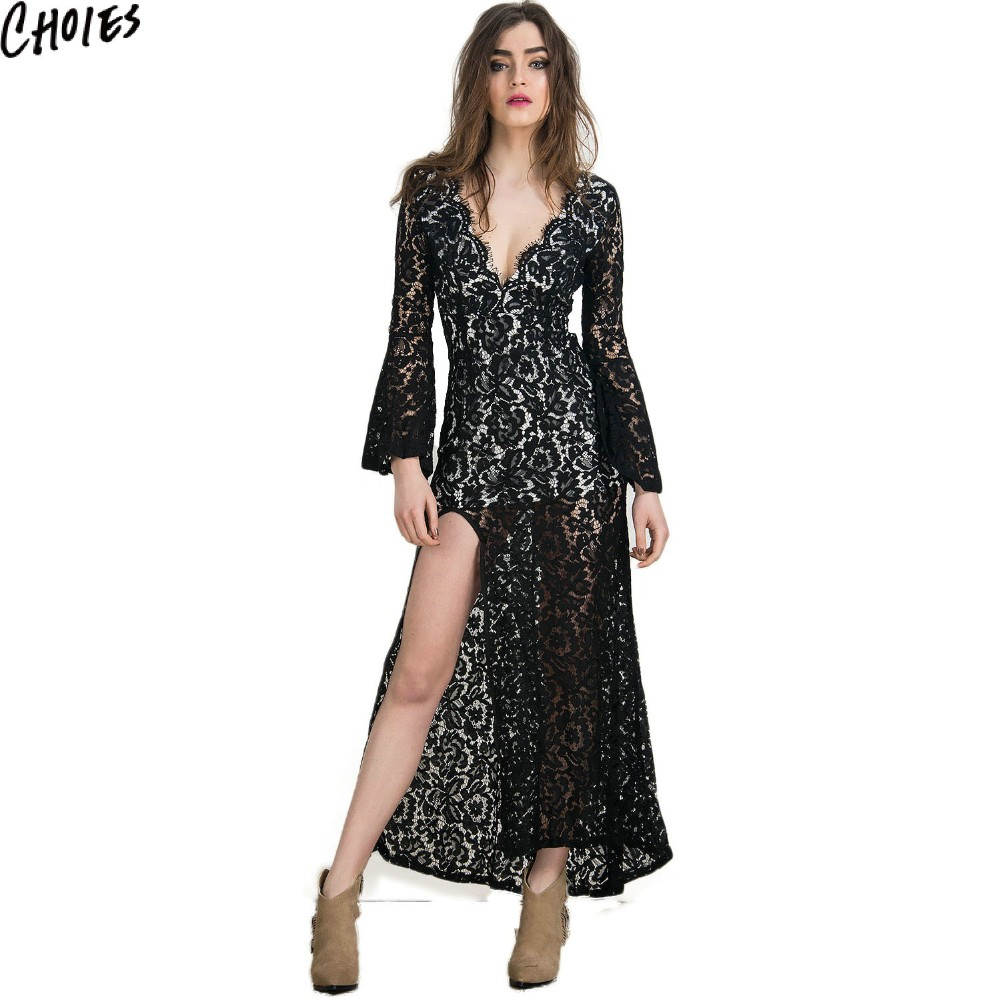 c33a15686ee21 US $47.25 |Women White And Black Vintage Backless Lined Side Split Lace  Maxi Dress 2017 New Summer Plunge V Neck Sexy Bodycon Club Dresses-in  Dresses ...