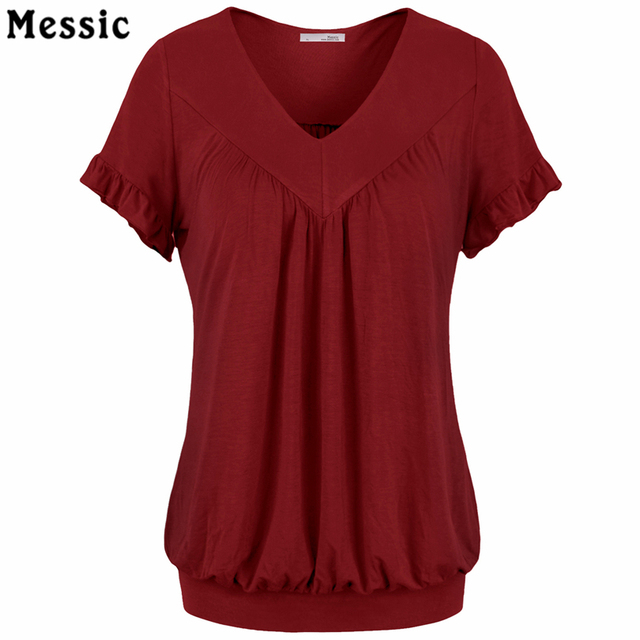 f552e7ee2f8 Women V Neck Short Sleeve Draped Knitted Tunic Blouse Top Summer Elegant Blouse  Shirt 2018 Causal Blouses Blusas Women Tops