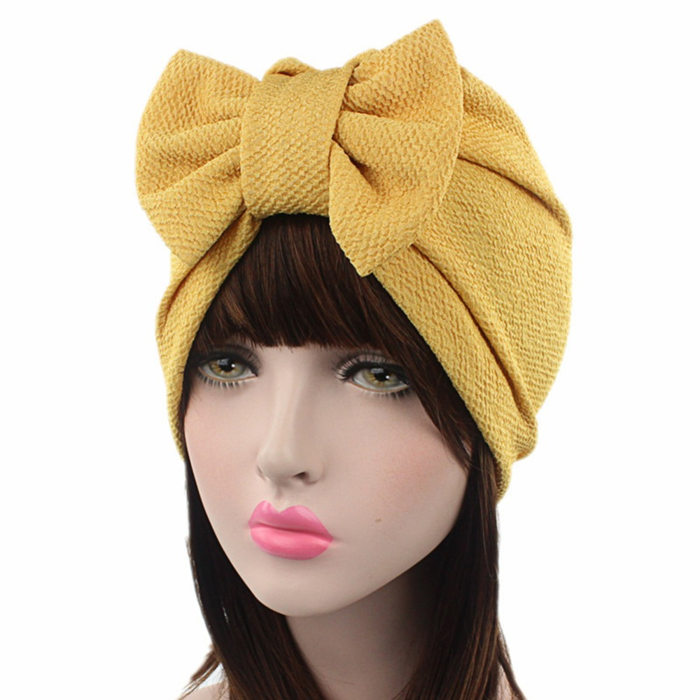 Womens Hats Muslim Indian Style Kerchief Covering HeadHat Confinement Cap Solid Color Bowknot Style Eucomis Muslim Hat